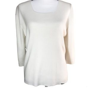 Dressbarn Cream Scoop Neck Sweater Size XL